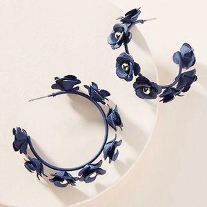 Anthropologie Navy Autumnal Blooms Hoop Earrings